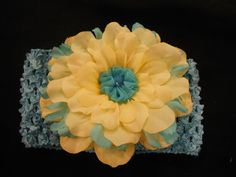 Beautiful Crochet Headband with Vintage Flower.  So Pretty. $7.00, via Etsy.
