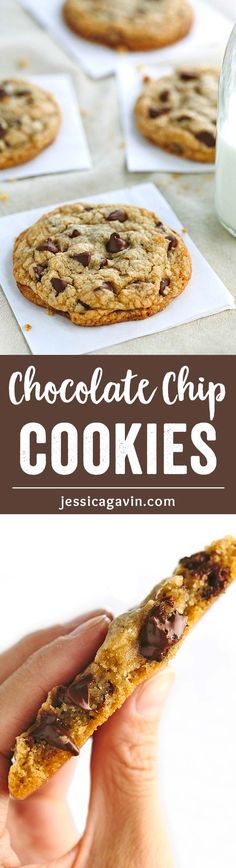 The BEST Chewy Chocolate Chip Cookies - soft center with crisp edges and brown butter for enhanced flavor, this a simple recipe for super CHEWY, THICK chocolate chip cookies! ♡  via @foodiegavin