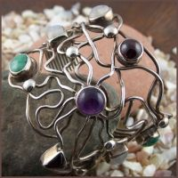 Twisted Sterling Silver Cuff  Various cabochon stones.