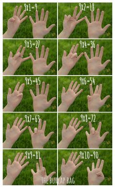 How to Multiply by 9 Using your Fingers — The Burlap Bag - - Props to my grade teacher for this one - Mrs.Wootton, if you're out there, hi. Math tricks are so sweet! This one will help you with multiplying 9 by any single digit. Relaxing Gif, Pencil And Paper, Math Worksheets, Math Lessons, Math Tips, Burlap, How To Memorize Things, Fingers, Sweet