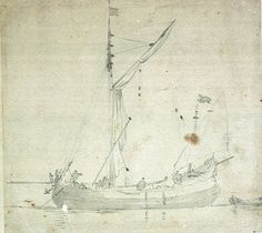 A Dogger, an early sailing trawler, c. 1675 by Willem van de Velde the Younger