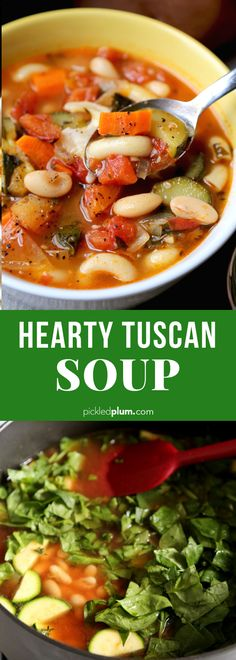 Factors You Need To Give Thought To When Selecting A Saucepan Hearty Tuscan Soup - A Comforting Vegetable Soup Recipe With Beans And Elbow Pasta. Nutritious, Filling And Super Healthy Vegetarian, Vegan, Delicious Sopa Toscana, Tuscan Soup, Elbow Pasta, Vegetable Soup Recipes, Bean And Vegetable Soup, Vegetable Soup Healthy, Chicken Recipes, Recipes With Vegetables, Italian Vegetable Soup