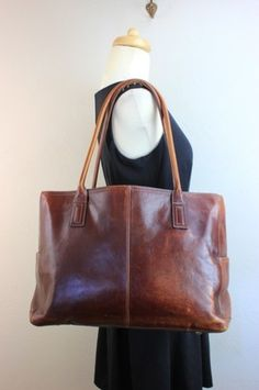 Authentic Fossil Genuine Leather Brown Tote Bag Carry on Purse Luggage Used 10I | eBay