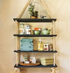You can create these functional and stylish hanging shelves in just a few hours. Get the instructions here. | Photo: Laurey W. Glenn | myhomeideas.com