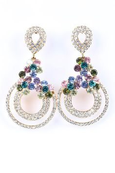 Crystal Drop Earrings - Gold & Multicolour