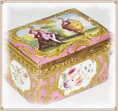 The Patch Box - Since patches were popular with ladies of high fashion, and high income, beautifully decorated little boxes were created to hold these tiny treasures in. These tiny boxes often enameled used to be given to ladies as love and friendship tokens with sentimental messages enameled into the design.
