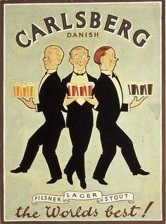 Tuesday's ad is for Carlsberg, from 1920. Now with three kinds of beer —…