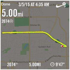 5 miles at 9'47 mph