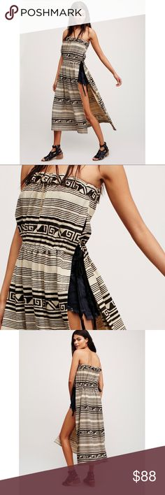 Free People Madagascar Tunic Free People New Romantics Madagascar tunic - tribal inspired tube tunic, maxi length, exaggerated side vents.  Adjustable waistband w/braided suede ties & elastic band at the bust for effortless fit.  Cotton/polyester blend.  Perfect condition never worn! Free People Dresses Maxi