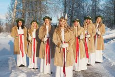 On December 13 Sweden celebrates Lucia Day. The event symbolizes light in the midst of a dark winter. Swedish Christmas, Scandinavian Christmas, Christmas Love, Winter Christmas, Lappland, Snowboards, Lund, Santa Lucia Day, Swedish Traditions