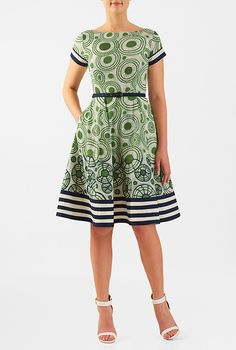 I <3 this Contrast stripe hem belted cotton cambric dress from eShakti
