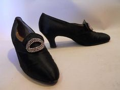 """Early 20C, silk dress shoe w/ steel cut """" buckles"""". 3"""" heel."""