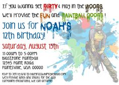Boy's PAINTBALL Birthday Party Invitation- blue, red, green by BluegrassWhimsy, $15.00