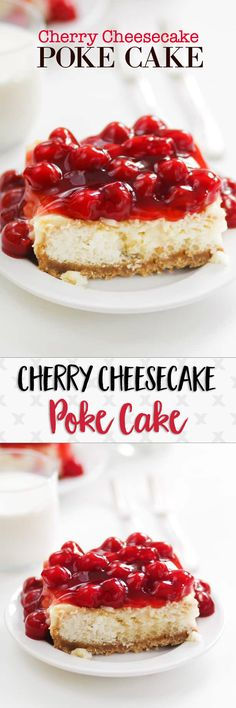 Cherry cheesecake and cake combined in one amazing dessert! I kept going back for one more little piece...