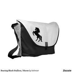 Rearing Black Stallion / Horse Messenger Bag