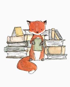 This red fox loves his books. - art print from an original watercolor, gouache, and acrylic painting by Kit Chase. - archival matte paper and ink - vertical print - ships worldwide from the U.S. - waterma