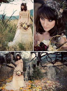 OK, so the dress and bouquet, not so much, but love the flower  petals all over the ground.