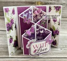 New Style | Cascading Gatefold Cards – Mixed Up Craft Fancy Fold Cards, Folded Cards, Butterfly Kisses, 3d Cards, Card Patterns, Card Making, Paper Crafts, Gift Wrapping, Purple