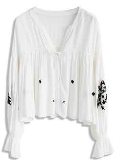 Light Floral Embroidered Dolly Top in White - New Arrivals - Retro, Indie and Unique Fashion