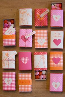 cute DIY party favors- decorated matchboxes with candy..