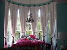 Beautiful Bay Window Treatment Ideas has a variation photo that relevant to windows curtains. Discover the most recent images of bay window treatment… Bow Window Curtains, Bay Window Blinds, Burlap Curtains, Window Seats, Bedroom Windows, House Windows, Bay Windows, Bay Window Treatments, Window Coverings
