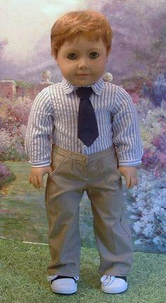 Prep School for 18 Inch Boy doll Custom by MyGirlClothingCoHeir Boy Doll Clothes, Crochet Doll Clothes, Children Clothes, American Boy Doll, American Doll Clothes, Ag Dolls, Girl Dolls, 18 Inch Boy Doll, Kids Tents
