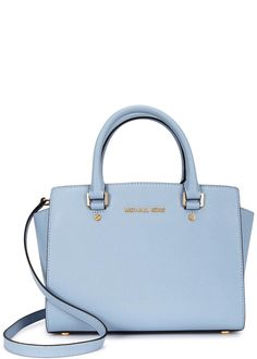 Michael Kors�powder blue saffiano leather tote Two top handles, detachable adjustable shoulder strap, designer plaque, feet, gold hardware, two internal patch pockets, zipped pocket, fully lined Zip fastening at top Comes with a dust bag