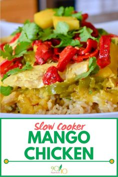 This Slow Cooker Mango Chicken recipe is simple and gluten free. Clean Eating Slow Cooker Recipe, Slow Cooker Recipes, Crockpot Meals, Good Healthy Recipes, Real Food Recipes, Chicken Recipes, Clean Dinners, Clean Eating Recipes For Dinner, Slow Cooker Balsamic Chicken