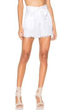KENDALL + KYLIE Frayed Twill Short in Bright White