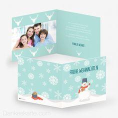 Weihnachtskarte Schneemann 14.5 x 14.5 cm - Dankeskarte.com Toy Chest, Storage Chest, Decor, Thanks Card, Snow Flakes, Snowman, Xmas Cards, Kawaii, Decoration