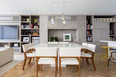 Decoração, Decoração de apartamento, Apartamento, ambiente integrado, decoração clean, plantas, planta, planta na decoração, sala, sala de jantar, mesa de jantar, mesa branca, cadeira estofada.