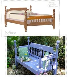 Bench made from an old bedframe! Clever!
