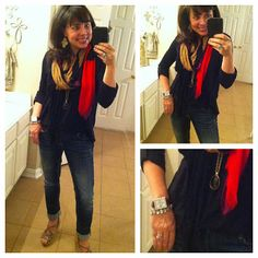 MUST HAVE JEANS, MUST HAVE SHIRT, scarf, and pendant necklace.