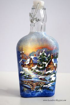 butelka decoupage świąteczna bożonarodzeniowa z widoczkiem Wine Bottle Art, Wine Bottle Crafts, Bottles And Jars, Glass Bottles, Decor Crafts, Home Decor, Handicraft, Decoupage, Vase