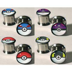 "Pokemon Pokeball Plugs 0g - 1/2"" ($16) ❤ liked on Polyvore"