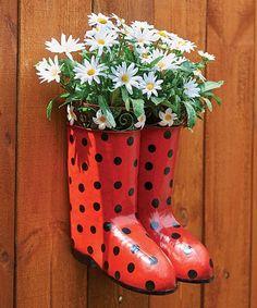 Red Rain Boot Planter