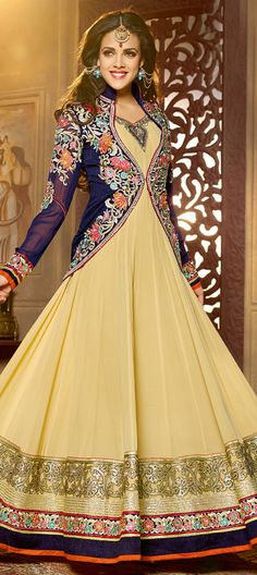 477622: Beige and Brown,Blue  color family  stitched Anarkali Suits .