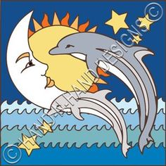 Moonface w/Dolphins decorative art tile is hand painted and hard fired at over 1800 degrees making it ready for use indoors or outdoors Tile Murals, Tile Art, Tiles, Mexican Furniture, Inca, Welcome Gifts, Decorative Tile, Hand Designs, Beautiful Wall