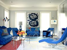Vivid blue furniture highlights this space - Boost Your Interiors with Color