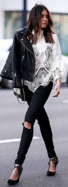 #summer #chic #style #outfitideas   Black Leather + White Lace