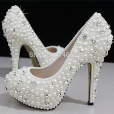 Européens et américains des femmes perles de luxe cristal de diamant chaussures de mariage / chaussures de mariée imperméables et à talons hauts robe chaussures