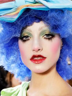 John Galliano Spring Summer 2009 Ready-to-Wear. Love the colour pop of this image!!!!the pale skin with all these colour additions are so inspiring for creating a colour themed makeup!!!