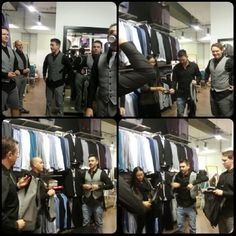 http://chicerman.com groomsmenslounge:  Suit shopping with the groom and groomsmen -... #weddingsuits