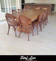 Stof Lar Decorações - Móveis em Madeira de Demolição : Mesa modelo Caixa com Cadeiras Elysee