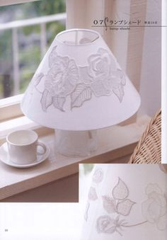 white embroidery flower lampshade pattern by LibraryPatterns