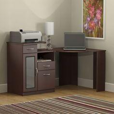 Awesome Modern Brown Painted Corner Desk Furnished With Open Shelf With Corner Computer Desks For Home Plus L Shaped Corner Desk