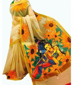 Off-White Handpainted Kerala Cotton Saree
