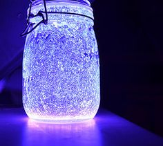Jar of fairies! Take a jar, glo sticks and glitter. Crack open and cut open glo sticks, add to jar, add glitter to the jar, shake and use as night light, party light, or experiment!
