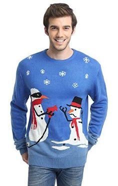 5c5806529d956 daisysboutique Men's Christmas Holiday Snowman Themed Ugly Sweater Cute  Pullover