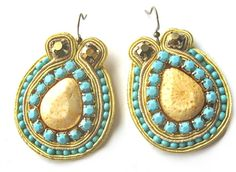 MALIBU soutache earrings in turquoise and by BlackMarketJewels, £30.00